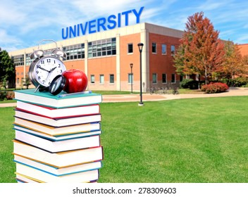 University campus with books for education concept