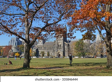 University campus in fall