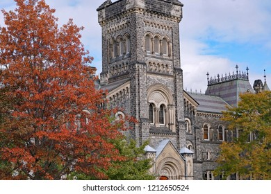 University campus with gothic architecture and fall colors