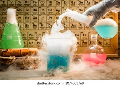 University chemical lab during experiment with periodic table of elements