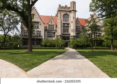 University of Chicago gothic building with foliage