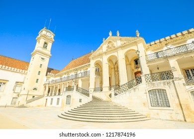 University of Coimbra, the most ancient of Portugal and also one of the oldest in Europe. Coimbra, Portugal in a summer season. Blue sky.