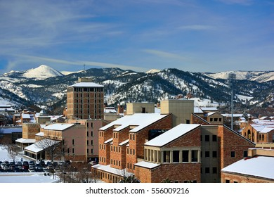 The University of Colorado Boulder Campus on a Snowy Winter Day with the Rocky Mountains in the Background