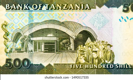 The University of Dar es Salaam. Student graduation procession. Giraffe's head. Portrait from 500 Shillings 2010 Tanzania Banknotes. An Old paper banknote, vintage retro. Famous ancient Banknotes.