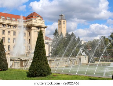 University of Debrecen main building with fountain and the clock tower in Debrecen, Hungary. The oldest continuously operating institution of higher education in Hungary(since 1538).