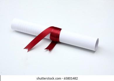 University diploma isolated on white