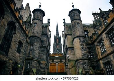The University of Edinburgh historical architecture closeup.