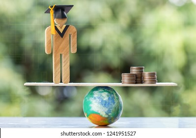 University Education learning abroad international Idea. Student Graduation save coins placed on mock globe with balance. Concept of study requires money cost saving for success. Back to School