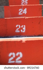 University of Florida orange stadium steps closeup.