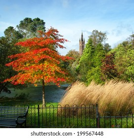 The University of Glasgow from Kelvingrove park on a sunny autumn day