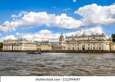 The University of Greenwich and The Royal Naval Collage from River Thames, London. The university dates back to November 1891, Greenwich Campus is located mainly in the Old Royal Naval College.