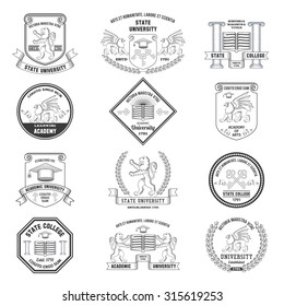 University labels crests sheilds and insignias set with lion griffin and graduation hat education symbols isolated  illustration