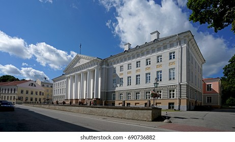 University main building in Tartu, the second city of Estonia, cradle of its culture and education - August 2017