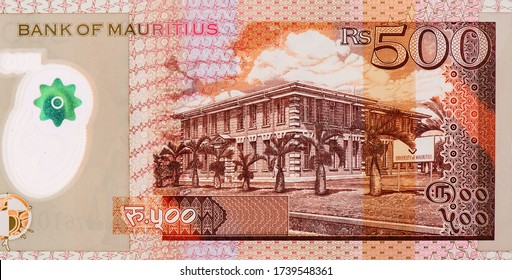 University of Mauritius (Université de Maurice) in Reduit, Moka. Portrait from Mauritius 500 Rupees 2007 Polymer Banknotes. An Old  Polymer banknote, vintage retro. Famous ancient Banknotes.