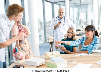 University - medical students with professor and human anatomical model in classroom
