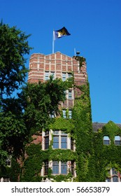 University of Michigan Union tower with M flag