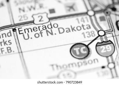 University of North Dakota. North Dakota. USA on a map.
