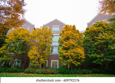 University of Oregon with Fall foilage as the leaves on the trees change color in Eugene Oregon.
