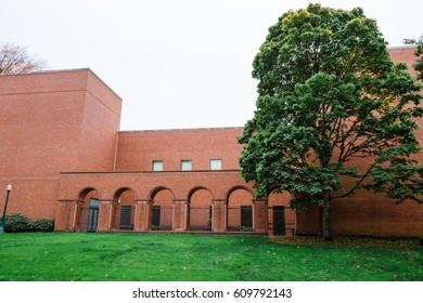 University of Oregon Jordan Schnitzer Museum of Art building exterior on the Eugene Campus.