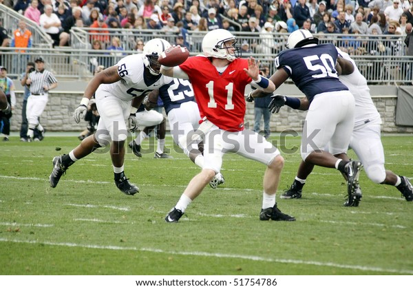 UNIVERSITY PARK, PA - APRIL 24: Penn State quarterback Matthew McGloin drops back to pass at Beaver Stadium April 24, 2010 in University Park, PA