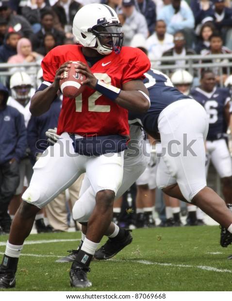 UNIVERSITY PARK, PA - APRIL 24: Penn State quarterback Kevin Newsome drops back to pass at Beaver Stadium April 24, 2010 in University Park, PA