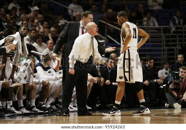 UNIVERSITY PARK, PA - FEB 16: Penn State coach Pat Chambers offers some encouragement to Jermaine Marshall against Iowa at the Byrce Jordan Center on February 16, 2012 in University Park, PA