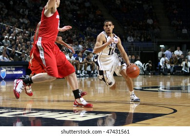 UNIVERSITY PARK, PA - FEBRUARY 24: Penn State's Talor Battle dribbles around 2 Ohio State defenders during a game at the Byrce Jordan Center February 24, 2010 in University Park, PA