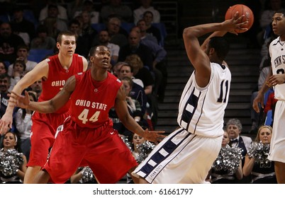 UNIVERSITY PARK, PA - FEBRUARY 24: Penn State forward Bill Edwards looks to pass during a game against Ohio State at the Byrce Jordan Center February 24, 2010 in University Park, PA