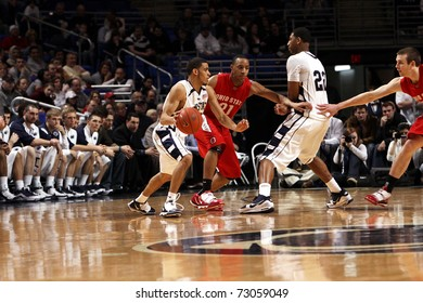 UNIVERSITY PARK, PA - FEBRUARY 24: Penn State's Talor Battle dribbles as Andrew Jones sets a pick in a game against Ohio State at the Byrce Jordan Center on February 24, 2010 in University Park, PA