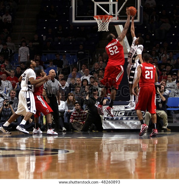 UNIVERSITY PARK, PA - FEBRUARY 24: Penn State's #23 Tim Fraizer has his shot blocked in a game against Ohio State at the Byrce Jordan Center February 24, 2010 in University Park, PA
