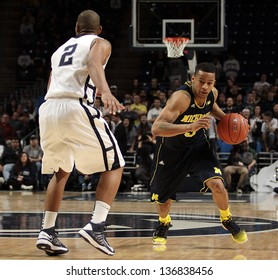 UNIVERSITY PARK, PA - FEBRUARY 27: Michigan's Trey Burke drives to the basket against Penn State at the Byrce Jordan Center February 27, 2013 in University Park, PA