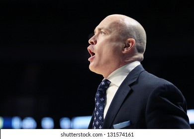 UNIVERSITY PARK, PA - FEBRUARY 27:Penn State's coach,Pat Chambers shouts encouragement to his players during a game against Michigan at the Byrce Jordan Center February 27, 2013 in University Park, PA