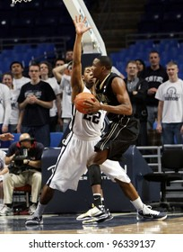 UNIVERSITY PARK, PA - JANUARY 5: Purdue's No. 25 JuJuan Johnson looks to drive to the basket in a game against Penn State at the Byrce Jordan Center on January 5, 2011 in University Park, PA