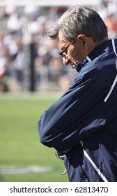 UNIVERSITY PARK, PA - OCT 9: Penn State coach Joe Paterno looks down during a tough loss to Illinois at Beaver Stadium October 9, 2010 in University Park, PA