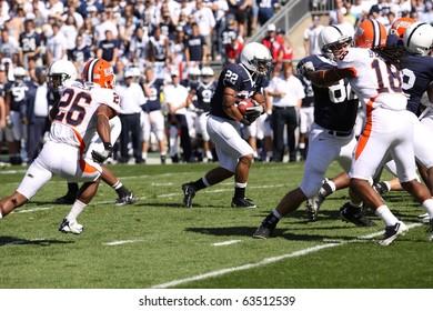UNIVERSITY PARK, PA - OCT 9: Penn State running back #22 Evan Royster runs  against Illinois at Beaver Stadium October 9, 2010 in University Park, PA