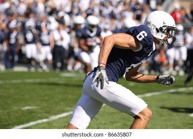 UNIVERSITY PARK, PA - OCT 9: Penn State receiver Derek Moye runs his route during a game with Illinois at Beaver Stadium on October 9, 2010 in University Park, PA