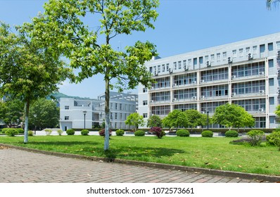 University school building and park outside, side view in the sun