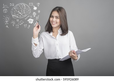 university student woman with education icon