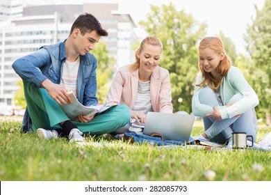 University students studying on campus