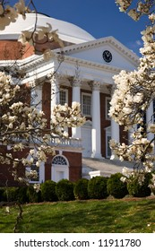 University of Virginia Rotunda, designed by Thomas Jefferson, in springtime