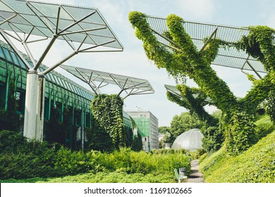 University of Warsaw Library with beautiful rooftop gardens, Warsaw, Poland