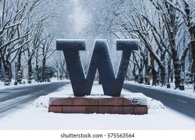University of Washington welcome sign under snow