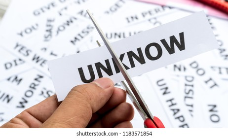 Unknow text or word meaning on paper in hand holding. copncept of show key word