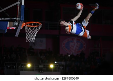 "Unknown basketball player kicks the ball into the basket, Jump high to the rihm. UKRAINE SUPERLEAGUE ALL STAR GAME, Match of the Stars - 2019, 26/01/2019, Palace of Sports ""Youth"", Zaporozhye, Ukraine"