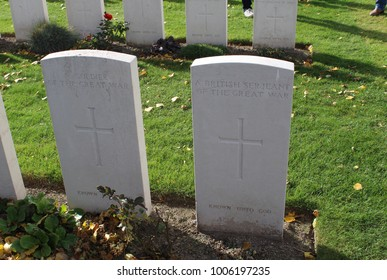 Unknown graves at Tyne Cot, Passchendaele, Belgium