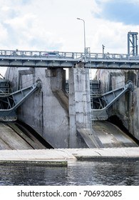 unknown hydro electric power station gates for water. industrial mechanics - vertical, mobile device ready image