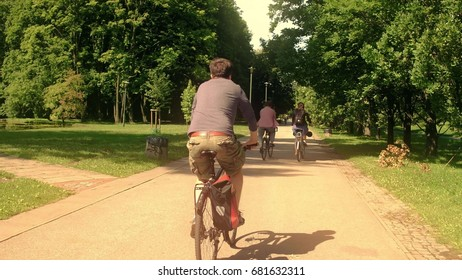 Unknown people cycling along summer park road