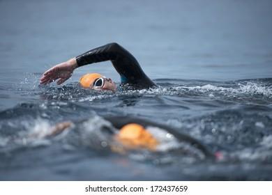 Unknown Swimmer at sea.