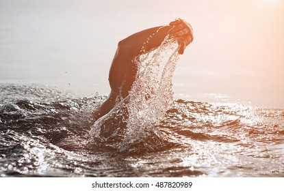 Unknown triathlon swimmer at sea