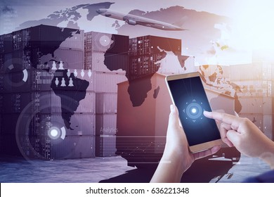 Unknown woman using smartphone with container cargo freight ship for Logistics Import Export background .